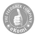 Logo der Firma eKomi mit hochgestrecktem Daumen in schwarz-weiß