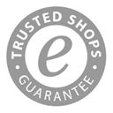 """""""Trusted Shops""""-Gütesiegel in schwarz-weiß"""