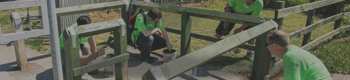 Group of volunteers in green t-shirts painting a fence in a public gardens