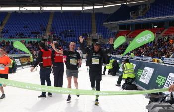Photo of Sage CEO Steve Hare finishing the Reading Half-Marathon