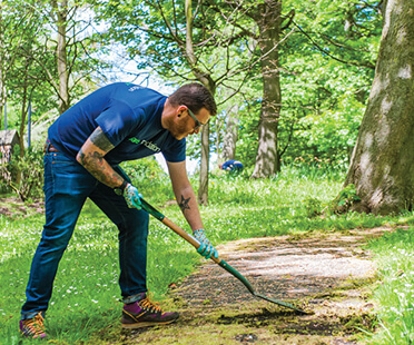 Male Sage foundation volunteer raking a path in a forest