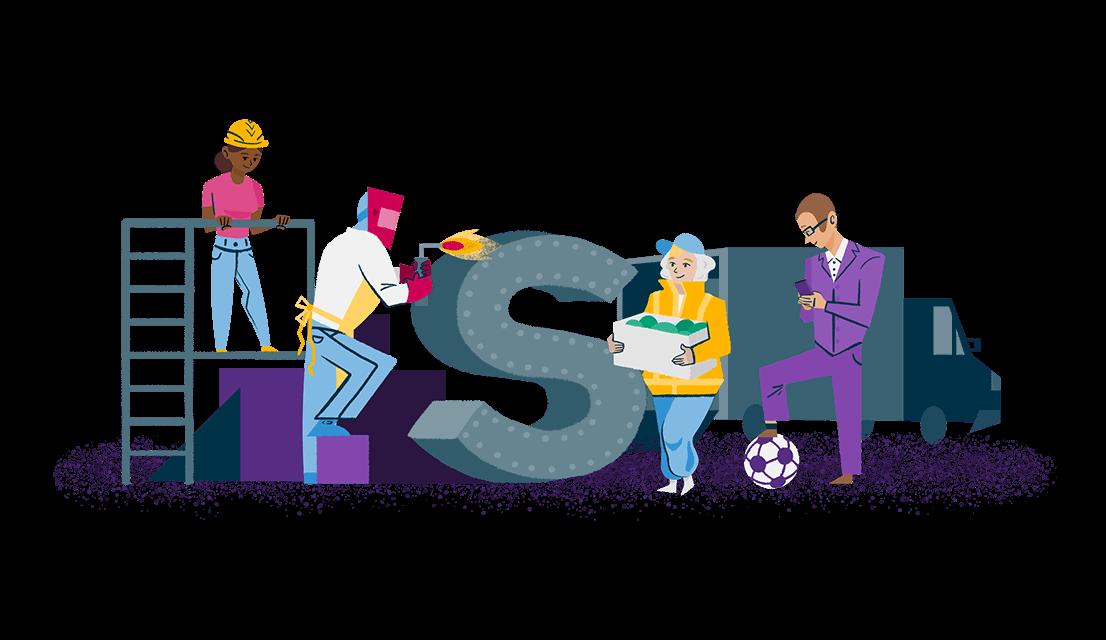 Illustration en couleurs de personnes issues de divers secteurs d'activité
